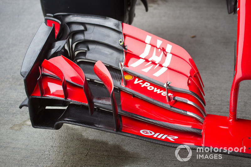 Front wing of Ferrari SF71H with new Ferrari livery