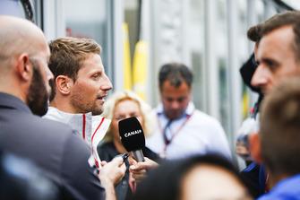Romain Grosjean, Haas F1 Team, talks to the media.