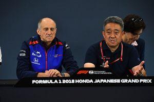 Franz Tost, Scuderia Toro Rosso Team Principal and Toyoharu Tanabe, Honda F1 Technical Director in the Press Conference