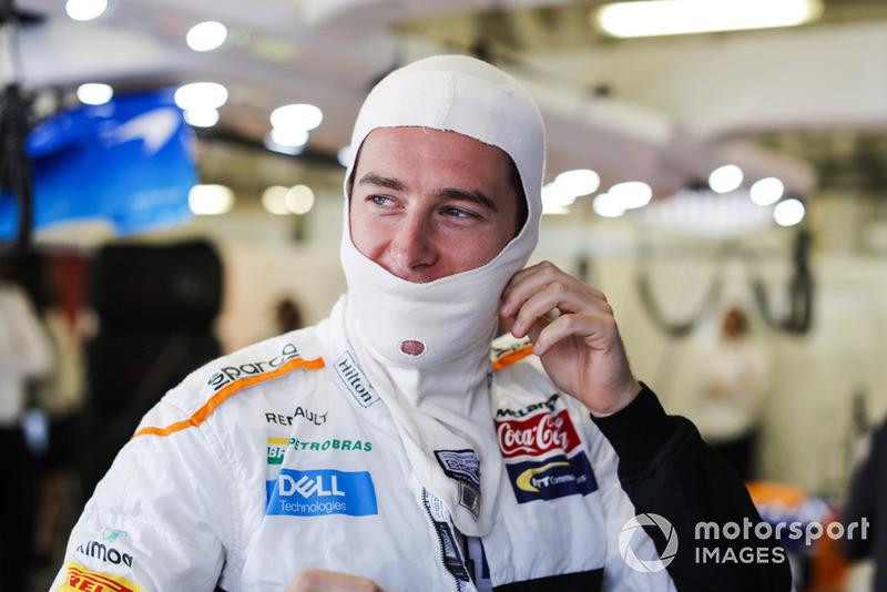 Stoffel Vandoorne, McLaren, gets ready in the garage