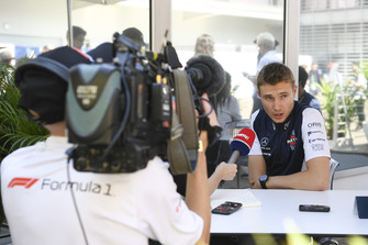 Sergey Sirotkin, Williams FW41 talks with the media