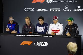 Brendon Hartley, Scuderia Toro Rosso, Kevin Magnussen, Haas F1 Team, Lance Stroll, Williams Racing, Marcus Ericsson, Sauber y Stoffel Vandoorne, McLaren en la conferencia de prensa