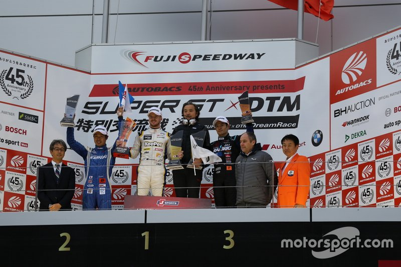 Podium: Race winner Nick Cassidy, Lexus Team TOM'S Lexus LC500, second place Koudai Tsukakoshi, Real Racing Honda NX-GT, third place Naoki Yamamoto, Team Kunimitsu Honda NSX-GT