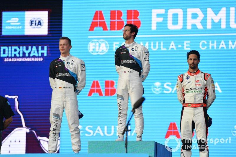 Maximilian Gunther, BMW I Andretti Motorsports, Alexander Sims, BMW I Andretti Motorsports, Lucas Di Grassi, Audi Sport ABT Schaeffler, sur le podium