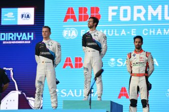 Maximilian Gunther, BMW I Andretti Motorsports, Alexander Sims, BMW I Andretti Motorsports, Lucas Di Grassi, Audi Sport ABT Schaeffler, sul podio