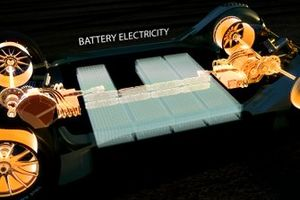 The car's battery pack would be situated safely within the car's carbon monocoque