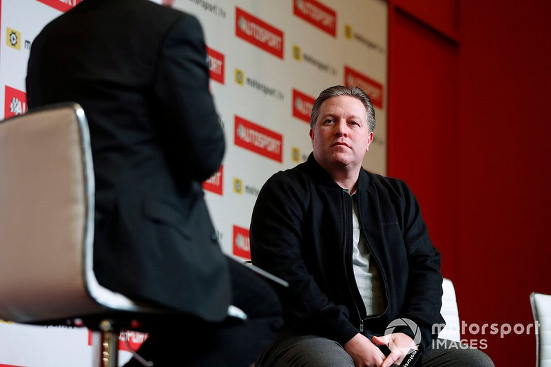 Zak Brown, Executive Director, McLaren is interviewed on the Autosport stage