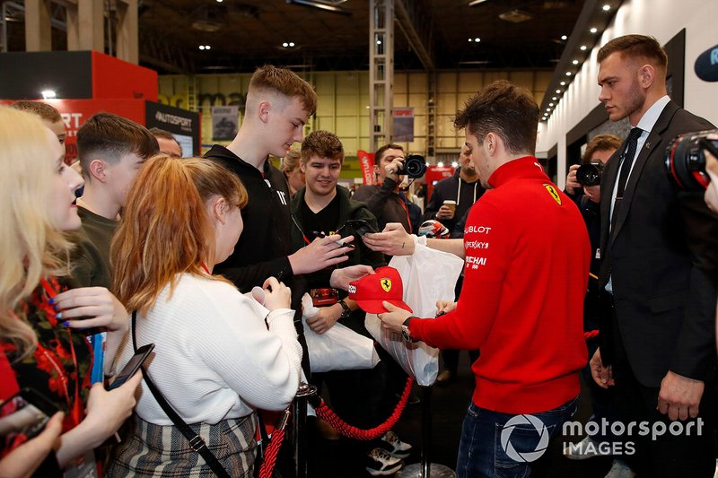 Charles Leclerc, Ferrari signs autographs for fans