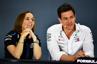 Claire Williams, Deputy Team Principal, Williams Racing, and Toto Wolff, Executive Director (Business), Mercedes AMG