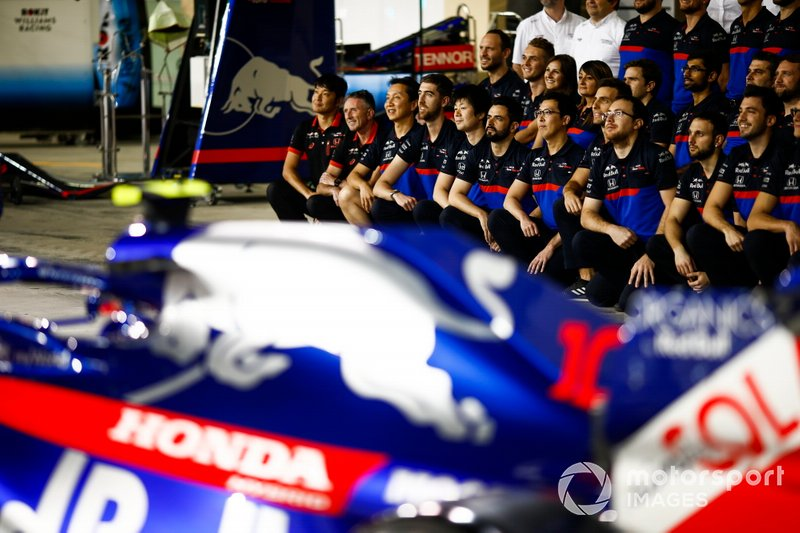 The Toro Rosso team poses for a group photo