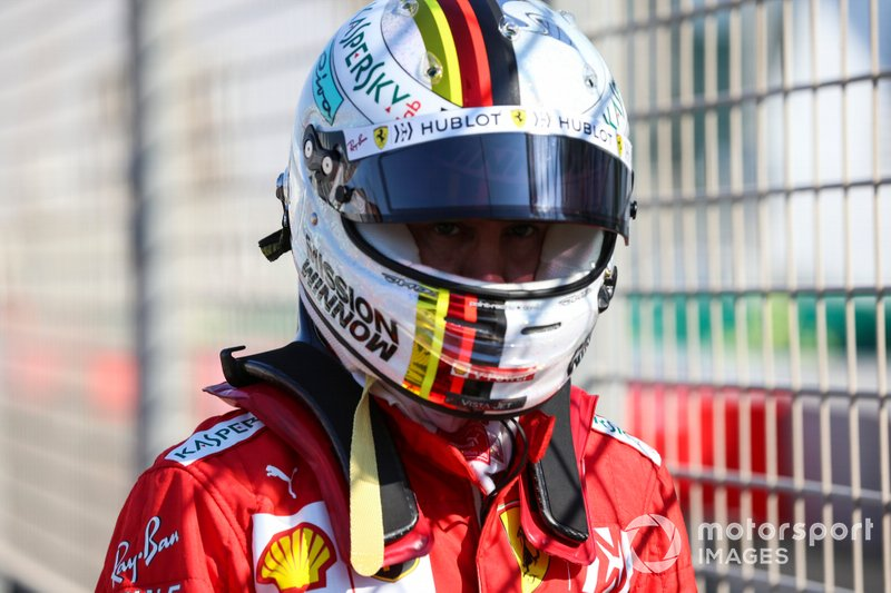 Sebastian Vettel, Ferrari, después del accidente