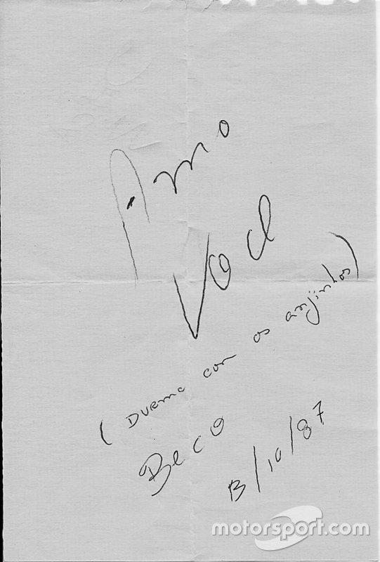 Carta de Ayrton Senna para Adriane Yamin