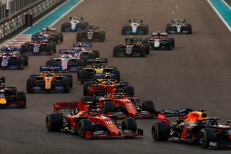 Max Verstappen, Red Bull Racing RB15, leads Charles Leclerc, Ferrari SF90, Sebastian Vettel, Ferrari SF90, Lando Norris, McLaren MCL34, Alexander Albon, Red Bull RB15, Carlos Sainz Jr., McLaren MCL34 and the rest of the pack
