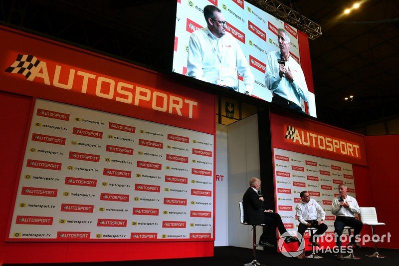 Ian Warhurst and Andy Green are interviewed on the Autosport stage
