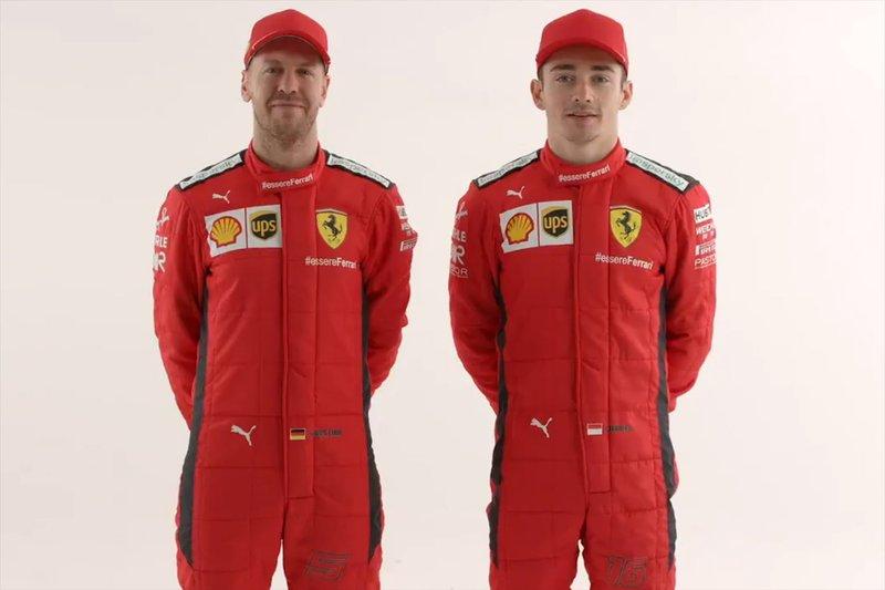 Le nuove tute di Sebastian Vettel, Charles Leclerc, Ferrari