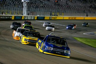 Todd Gilliland, Front Row Motorsports, Ford F-150 Black's Tire and Grant Enfinger, ThorSport Racing, Ford F-150 Protect the Harvest/Curb Records