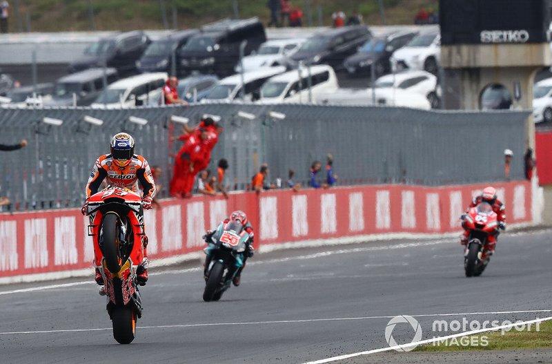 Il vincitore della gara Marc Marquez, Repsol Honda Team, il secondo classificato Fabio Quartararo, Petronas Yamaha SRT, il terzo classificato Andrea Dovizioso, Ducati Team