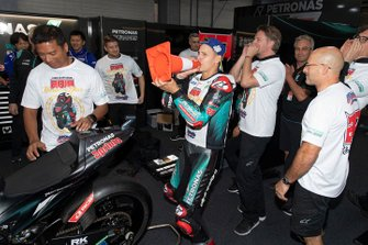 Second place Fabio Quartararo, Petronas Yamaha SRT celebrates with his team