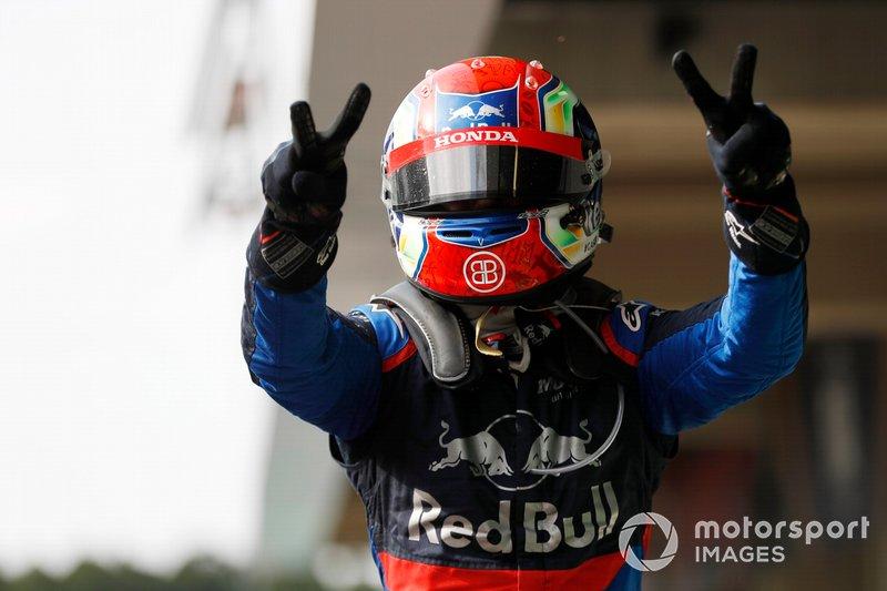 Pierre Gasly, Toro Rosso celebra en Parc Ferme
