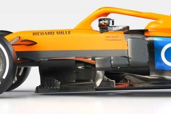 Dettaglio sidepods, McLaren MCL35