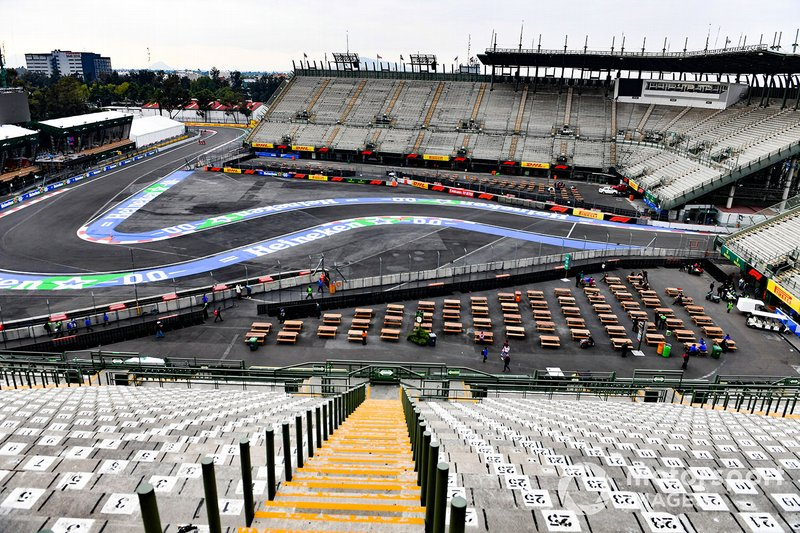 Grand stand view of the track