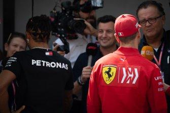 Lewis Hamilton, Mercedes AMG F1 and Sebastian Vettel, Ferrari talk to the media