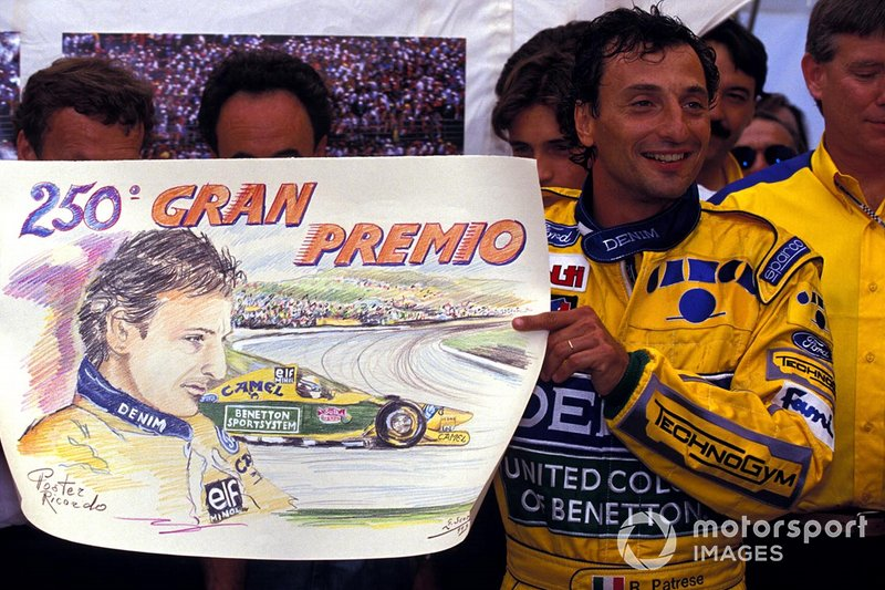 Riccardo Patrese, Benetton, celebrates his 250th Grand Prix