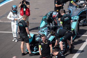 Mitch Evans, Jaguar Racing climbs out of his Jaguar I-Type 4 in the pit lane