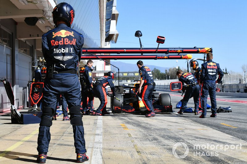 Max Verstappen, Red Bull Racing, makes a pit stop