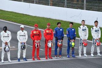 Lewis Hamilton, Mercedes-AMG Petronas F1, Valtteri Bottas, Mercedes-AMG Petronas F1, Charles Leclerc, Ferrari, Sebastien Vettel, Ferrari, Carlos Sainz, McLaren, Lando Norris, McLaren, Daniel Kvyat, AlphaTauri, and Pierre Gasly, AlphaTauri line up on the track