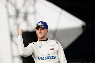 Stoffel Vandoorne, Mercedes Benz EQ, celebrates on the podium