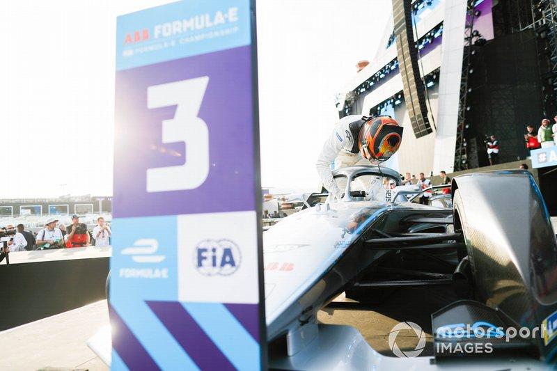 Stoffel Vandoorne, Mercedes Benz EQ, EQ Silver Arrow 01 climbs out of his car on the podium