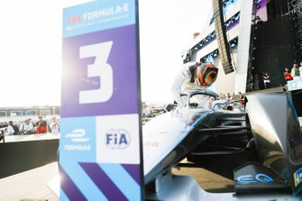 Stoffel Vandoorne, Mercedes Benz EQ, EQ Silver Arrow 01 climbs out of his car on the podium