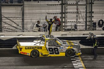 Grant Enfinger, ThorSport Racing, Ford F-150 Champion/ Curb Records celebrates