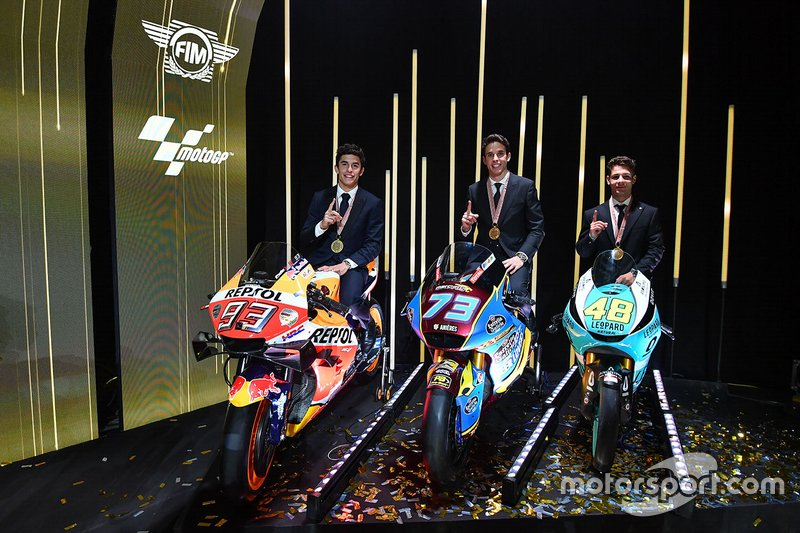 Motorrad-Weltmeister 2019: Marc Marquez (MotoGP), Alex Marquez (Moto2), Lorenzo Dalla Porta (Moto3)