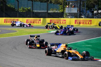 Lando Norris, McLaren MCL34, leads Alex Albon, Red Bull RB15, Pierre Gasly, Toro Rosso STR14, Lance Stroll, Racing Point RP19, Nico Hulkenberg, Renault F1 Team R.S. 19, and Sergio Perez, Racing Point RP19