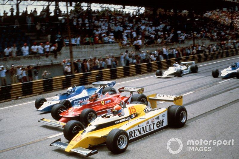 Jean-Pierre Jabouille, Renault RE20, batallas con Gilles Villeneuve, Ferrari 312T5, y Didier Pironi, Ligier JS11/15 Ford