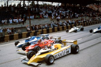 Jean-Pierre Jabouille, Renault RE20, battles with Gilles Villeneuve, Ferrari 312T5, and Didier Pironi, Ligier JS11/15 Ford