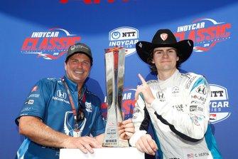 Mike Harding, Colton Herta, Harding Steinbrenner Racing Honda, podium