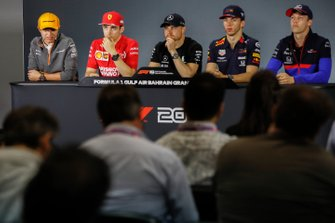 Lando Norris, McLaren, Charles Leclerc, Ferrari Valtteri Bottas, Mercedes AMG F1, Pierre Gasly, Red Bull Racing et Daniil Kvyat, Toro Rosso, en conférence de presse