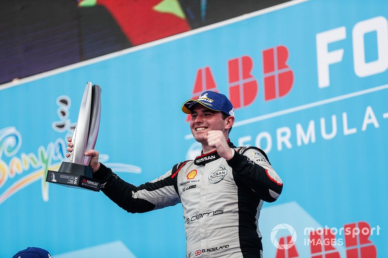 Oliver Rowland, Nissan e.Dams, celebrates his maiden Formula E podium finish