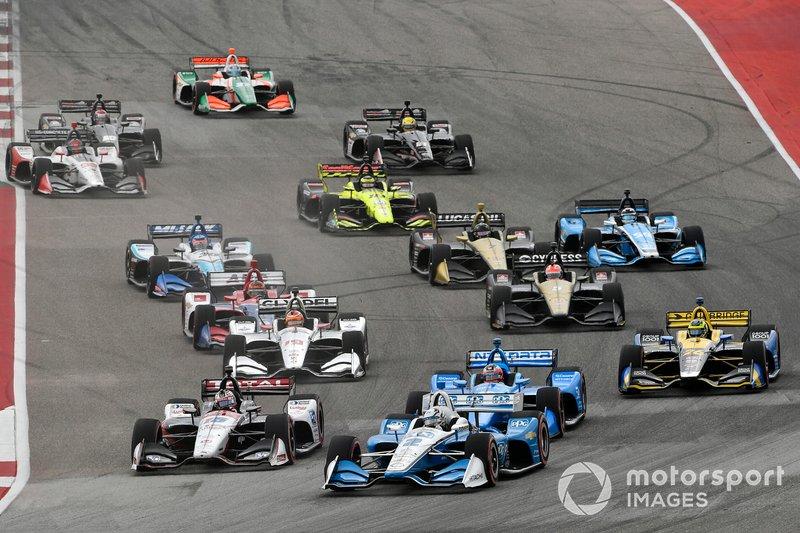 Josef Newgarden, Team Penske Chevrolet, Graham Rahal, Rahal Letterman Lanigan Racing Honda, start