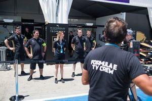 The Techeetah team pose for a TV shot