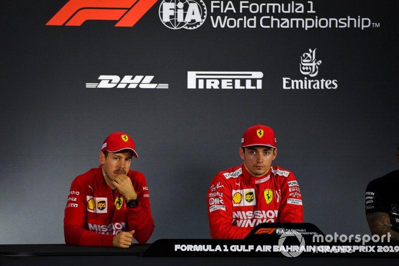 Sebastian Vettel, Ferrari, and Charles Leclerc, Ferrari, in the post Qualifying Press Conference