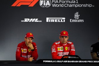 Sebastian Vettel, Ferrari, and Charles Leclerc, Ferrari, in the post Qualifying Press Conference