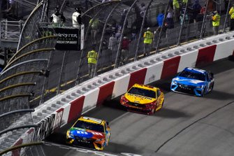 Kyle Busch, Joe Gibbs Racing, Toyota Camry M&M's, Joey Logano, Team Penske, Ford Mustang Shell Pennzoil and Martin Truex Jr., Joe Gibbs Racing, Toyota Camry Auto Owners Insurance