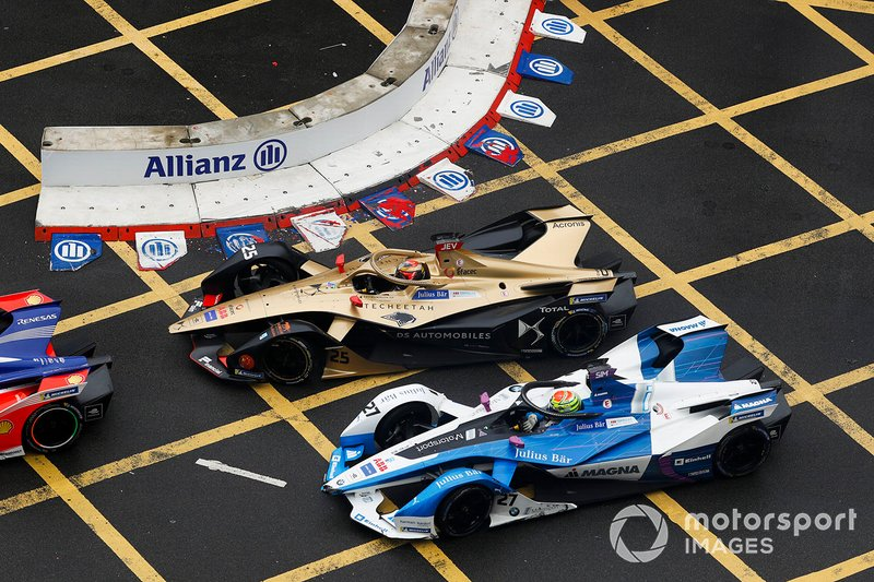 Jean-Eric Vergne, DS TECHEETAH, DS E-Tense FE19 y Alexander Sims, BMW I Andretti Motorsports, BMW iFE.18