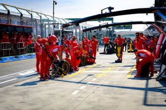 Ferrari pit crew in the pitlane
