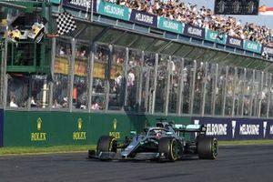 Second place Lewis Hamilton, Mercedes AMG F1 W10, crosses the line