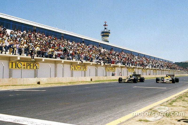 Ayrton Senna, Lotus; Nigel Mansell, Williams